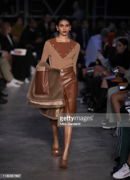 A model walks the runway at the Burberry show during London Fashion Week February 2019 on February 17 2019 in London England