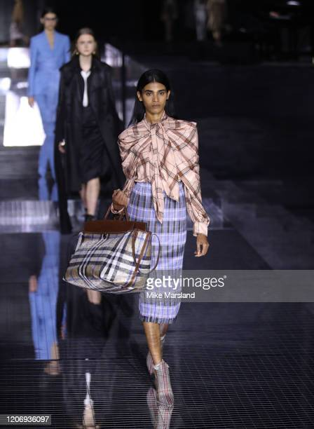 Model walks the runway at the Burberry show during London Fashion Week February 2020 on February 17, 2020 in London, England.