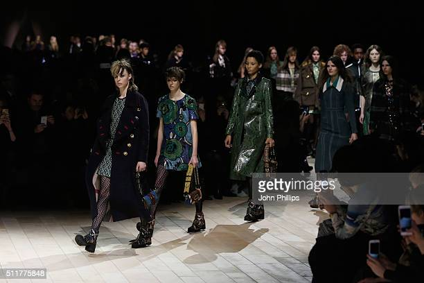 Model walks the runway at the Burberry show during London Fashion Week Autumn/Winter 2016/17 at Kensington Gardens on February 22 2016 in London...