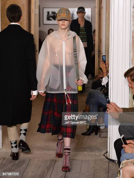 A model walks the runway at the Burberry show during London Fashion Week September 2017 on September 16 2017 in London England