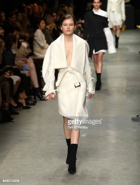 A model walks the runway at the Burberry show during the London Fashion Week February 2017 collections on February 20 2017 in London England