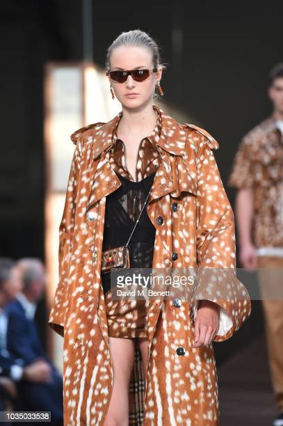 A model walks the runway at the Burberry SS19 catwalk show during London Fashion Week September 2018 on September 17 2018 in London England