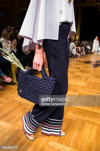 A model walks the runway at the Busnel show during Stockholm Runway SS19 at Grand Hotel on August 28 2018 in Stockholm Sweden