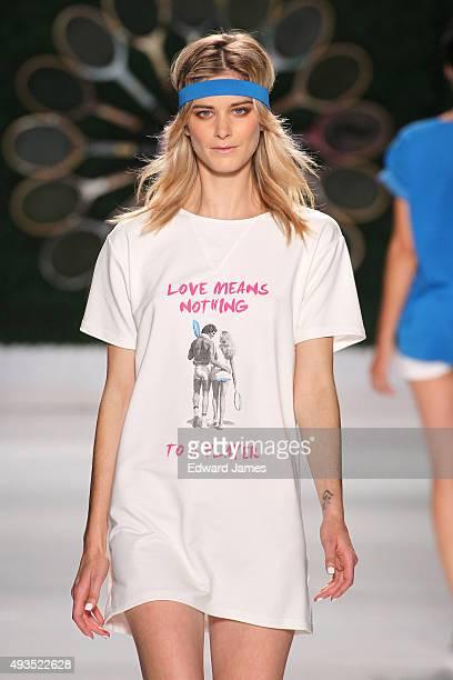 A model walks the runway at the Bustle Spring/Summer 2016 fashion show during World Mastercard fashion week on October 20 2015 at David Pecaut Square...