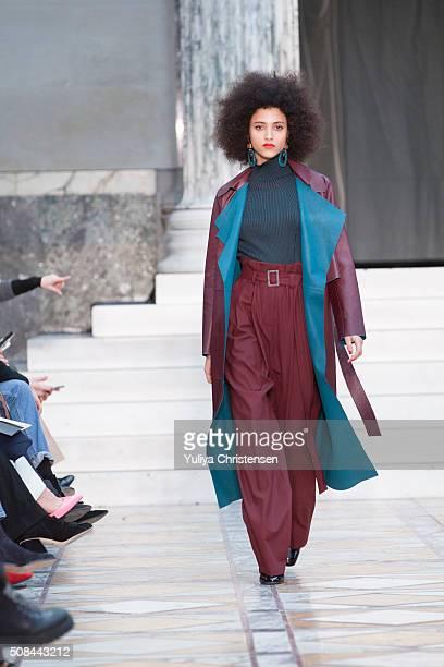 A model walks the runway at the By Malene Birger show during the Copenhagen Fashion Week Autumn/Winter 2016 on February 4 2016 in Copenhagen Denmark