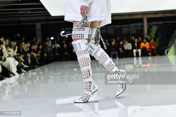 A model walks the runway at the Byblos show at Milan Fashion Week Autumn/Winter 2019/20 on February 20 2019 in Milan Italy