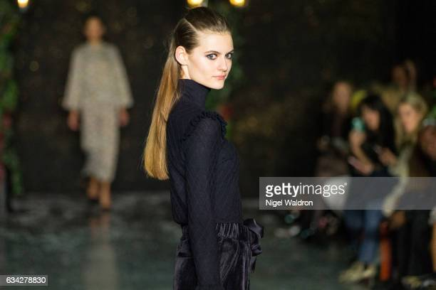 A model walks the runway at the ByTimo show during the Fashion Week Oslo Autumn/Winter 2017 at the Munch Museum on February 08 2017 in Oslo Norway