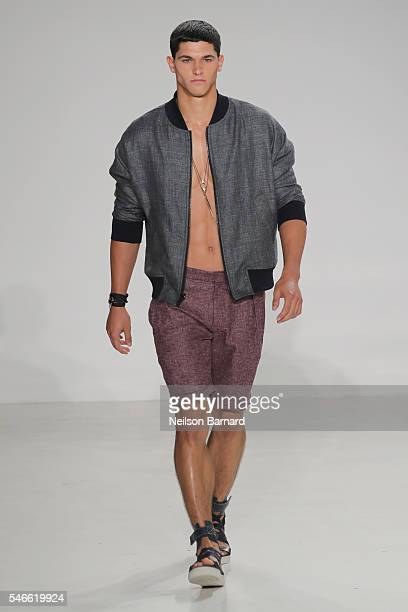 A model walks the runway at the Cadet New York Fashion Week Men's S/S 2017 show at Skylight Clarkson Sq on July 12 2016 in New York City