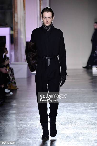 A model walks the runway at the Calcaterra show during Milan Fashion Week Fall/Winter 2018/19 on February 25 2018 in Milan Italy