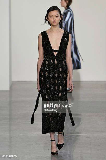 A model walks the runway at the Calvin Klein Autumn Winter 2016 fashion show during New York Fashion Week on February 18 2016 in New York United...