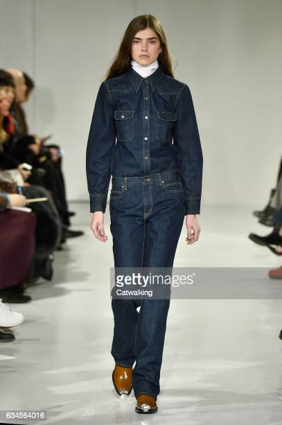 A model walks the runway at the Calvin Klein Collection Autumn Winter 2017 fashion show during New York Fashion Week on February 10 2017 in New York...