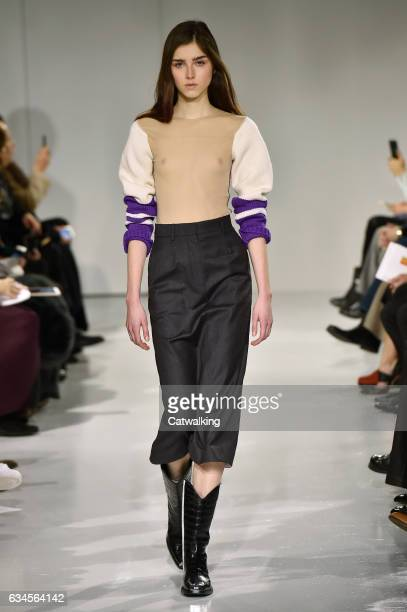 Model walks the runway at the Calvin Klein Collection Autumn Winter 2017 fashion show during New York Fashion Week on February 10, 2017 in New York,...