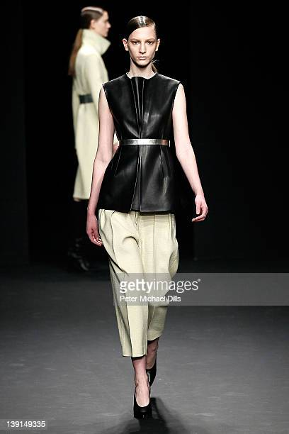 A model walks the runway at the Calvin Klein Collection Fall 2012 fashion show during MercedesBenz Fashion Week at on February 16 2012 in New York...