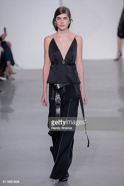 A model walks the runway at the Calvin Klein Collection Fall 2016 during New York Fashion Week The Shows at Spring Studios on February 18 2016 in New...
