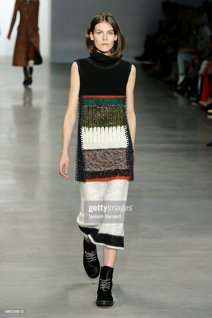 A model walks the runway at the Calvin Klein Collection fashion show during Mercedes-Benz Fashion Week Fall 2014 at Spring Studios on February 13, 2014 in New York City.