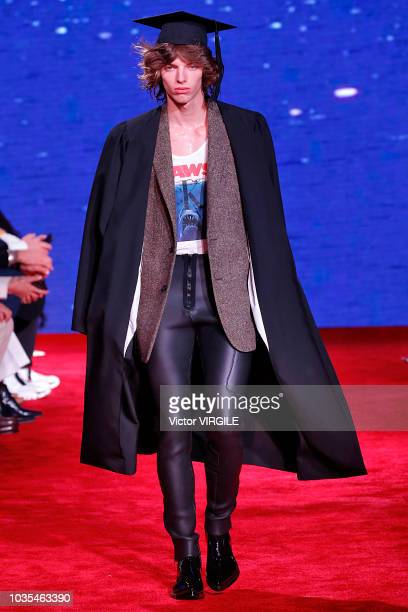 A model walks the runway at the Calvin Klein Collection Ready to Wear Spring/Summer 2019 fashion show during New York Fashion Week on September 11...