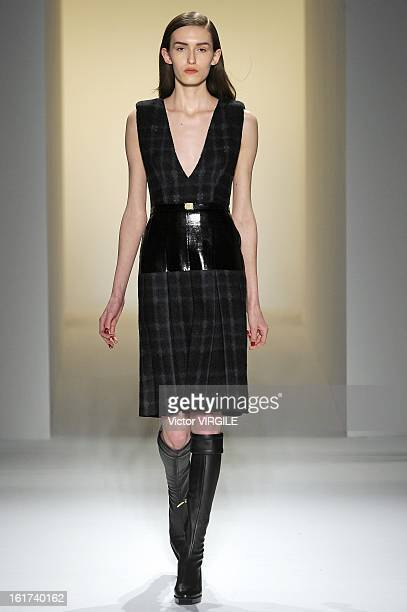 A model walks the runway at the Calvin Klein Collection Ready to Wear Fall/Winter 20132014 fashion show during MercedesBenz Fashion Week at 205 West...