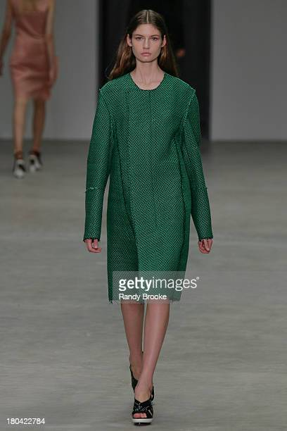 A model walks the runway at the Calvin Klein Collection show during Spring 2014 MercedesBenz Fashion Week on September 12 2013 in New York City