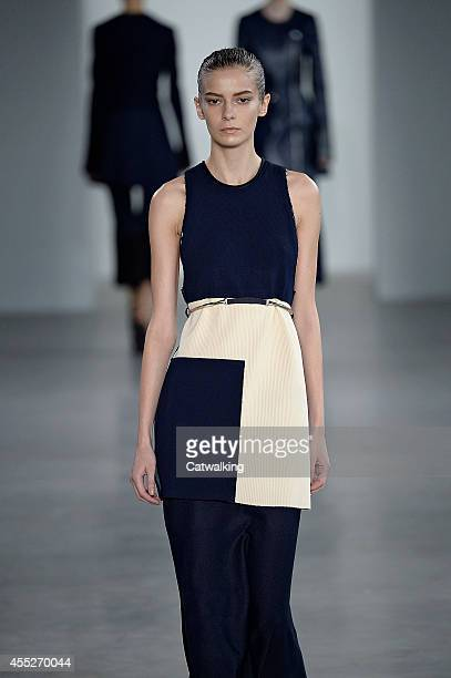 A model walks the runway at the Calvin Klein Spring Summer 2015 fashion show during New York Fashion Week on September 11 2014 in New York United...