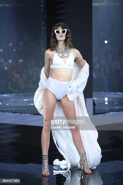 Model walks the runway at the Calzedonia Summer Show on April 10, 2018 in Verona, Italy.