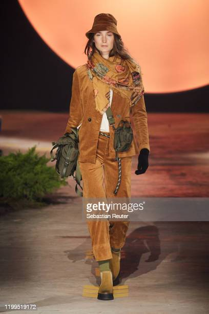 A model walks the runway at the camel active show during Berlin Fashion Week Autumn/Winter 2020 at Wriezener Karree on January 14 2020 in Berlin...