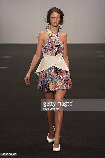 A model walks the runway at the Cameo show during MercedesBenz Fashion Week Australia 2014 at Carriageworks on April 8 2014 in Sydney Australia