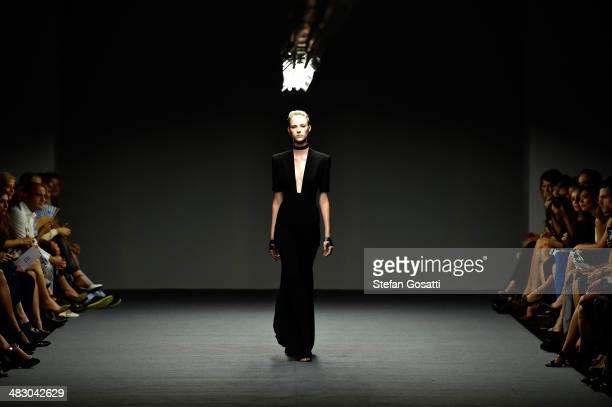 A model walks the runway at the Carla Zampatti show during MercedesBenz Fashion Week Australia 2014 at Carriageworks on April 6 2014 in Sydney...