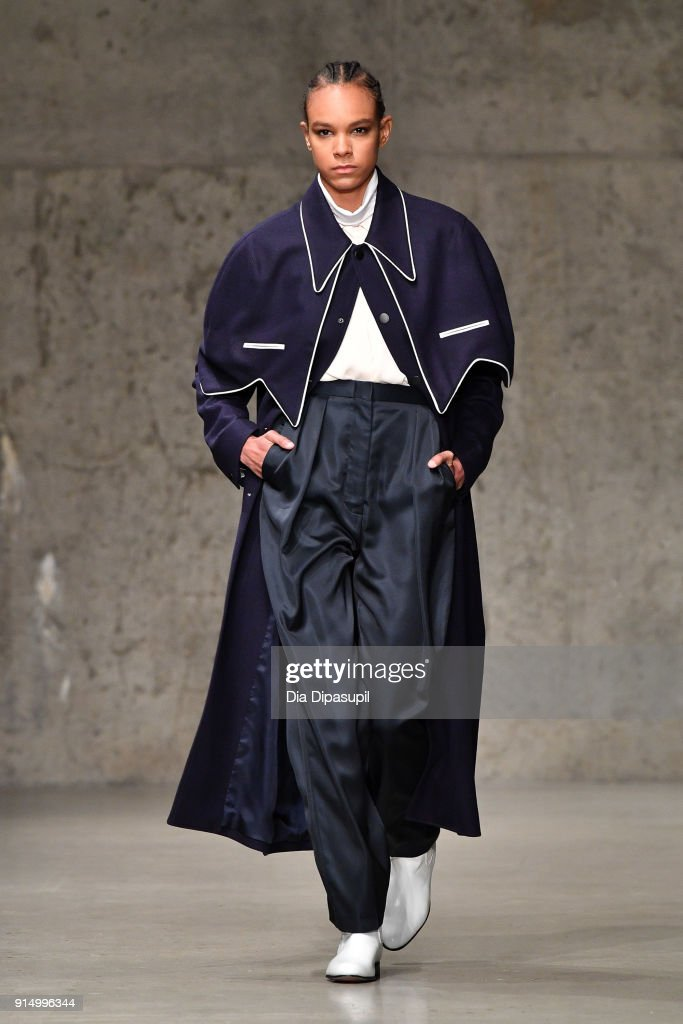 A model walks the runway at the Carlos Campos fashion show during New York Fashion Week Mens' at Skylight Modern on February 6, 2018 in New York City.
