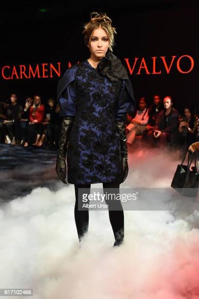 A model walks the runway at the Carmen Marc Valvo show during New York Fashion Week The Shows on February 11 2018 in New York City