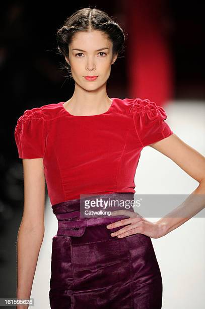 A model walks the runway at the Carolina Herrera Autumn Winter 2013 fashion show during New York Fashion Week on February 11 2013 in New York United...