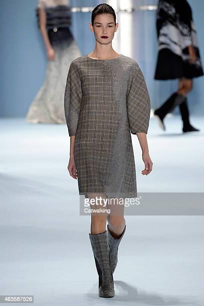 Model walks the runway at the Carolina Herrera Autumn Winter 2015 fashion show during New York Fashion Week on February 16, 2015 in New York, United...