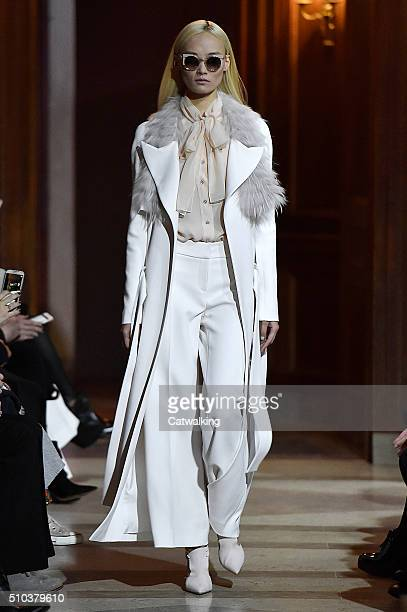 A model walks the runway at the Carolina Herrera Autumn Winter 2016 fashion show during New York Fashion Week on February 15 2016 in New York United...