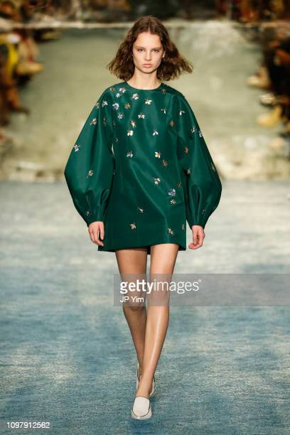 Model walks the runway at the Carolina Herrera Fall/Winter 2019 Collection at the New York Historical Society on February 11, 2019 in New York City.