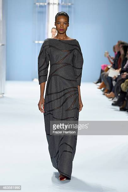 Model walks the runway at the Carolina Herrera fashion show during Mercedes-Benz Fashion Week Fall 2015 at The Theatre at Lincoln Center on February...