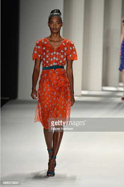 A model walks the runway at the Carolina Herrera fashion show during MercedesBenz Fashion Week Fall 2014 at The Theatre at Lincoln Center on February...