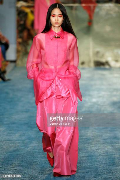 Model walks the runway at the Carolina Herrera Ready to Wear Fall/Winter 2019 fashion show during the New York Fashion Week on February 11, 2019 in...