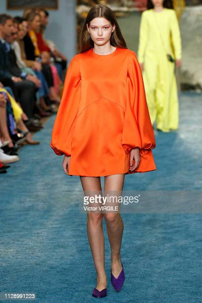 A model walks the runway at the Carolina Herrera Ready to Wear Fall/Winter 2019 fashion show during the New York Fashion Week on February 11 2019 in...