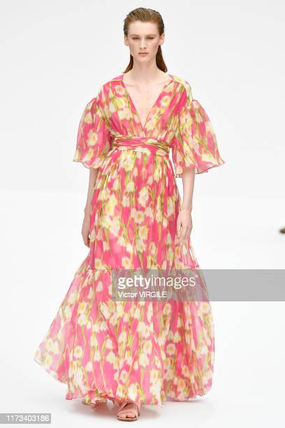 Model walks the runway at the Carolina Herrera Ready to Wear Spring/Summer 2020 fashion show during New York Fashion Week on September 09, 2019 in...
