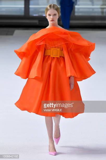 Model walks the runway at the Carolina Herrera Ready to Wear Fall/Winter 2020-2021 fashion show during New York Fashion Week on February 10, 2020 in...