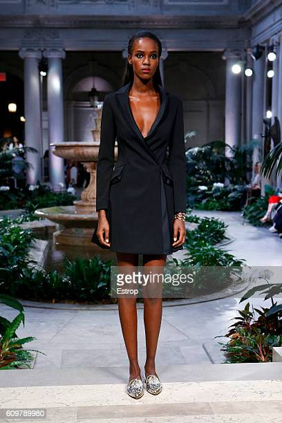 A model walks the runway at the Carolina Herrera show at The Frick Collection on September 12 2016 in New York City
