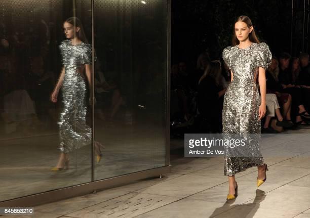 Model walks the runway at the Carolina Herrera show at The Museum of Modern Art on September 11 2017 in New York City