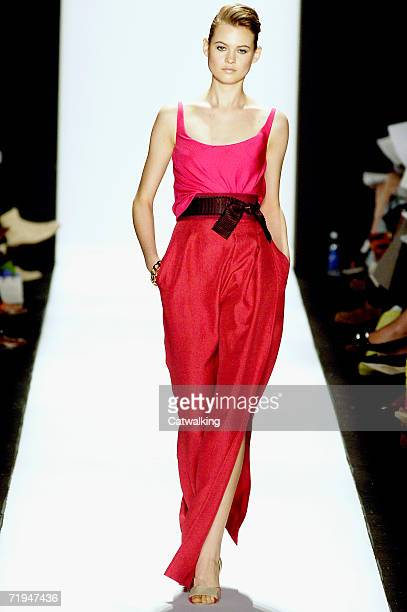 Model walks the runway at the Carolina Herrera Spring 2007 fashion show during Olympus Fashion Week in the Tent in Bryant Park September 11, 2006 in...