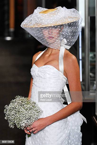 A model walks the runway at the Carolina Herrera Spring 2010 Bridal Collection at Tiffany Co Fifth Avenue Flagship Store on April 5 2009 in New York...