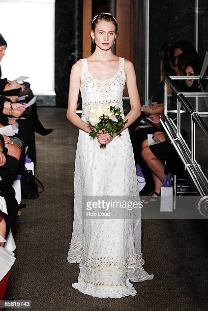 Model walks the runway at the Carolina Herrera Spring 2010 Bridal Collection at Tiffany & Co., Fifth Avenue Flagship Store on April 5, 2009 in New...