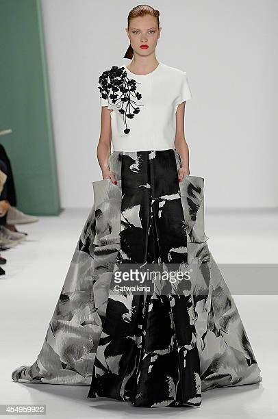 Model walks the runway at the Carolina Herrera Spring Summer 2015 fashion show during New York Fashion Week on September 8, 2014 in New York, United...