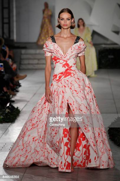 Model walks the runway at the Carolina Herrera Spring Summer 2018 fashion show during New York Fashion Week on September 11, 2017 in New York, United...