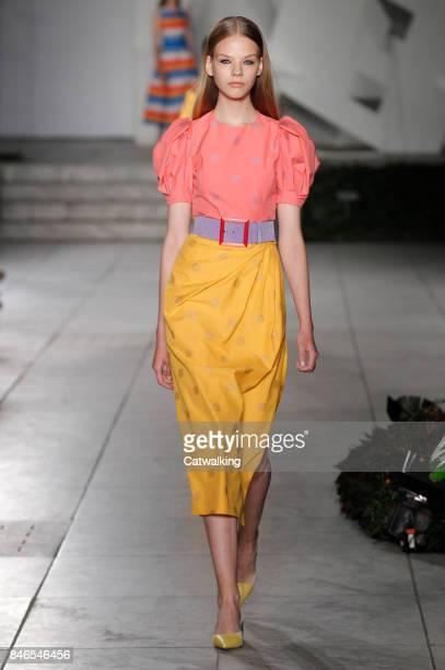 Model walks the runway at the Carolina Herrera Spring Summer 2018 fashion show during New York Fashion Week on September 11, 2017 in New York, United...