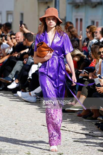A model walks the runway at the Carolina Machado fashion show during Lisboa Fashion Week 'ModaLisboa' S/S 2020 on October 13 2019 in Lisboa Portugal