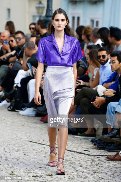 Model walks the runway at the Carolina Machado fashion show during Lisboa Fashion Week 'ModaLisboa' S/S 2020 on October 13 2019 in Lisboa, Portugal.