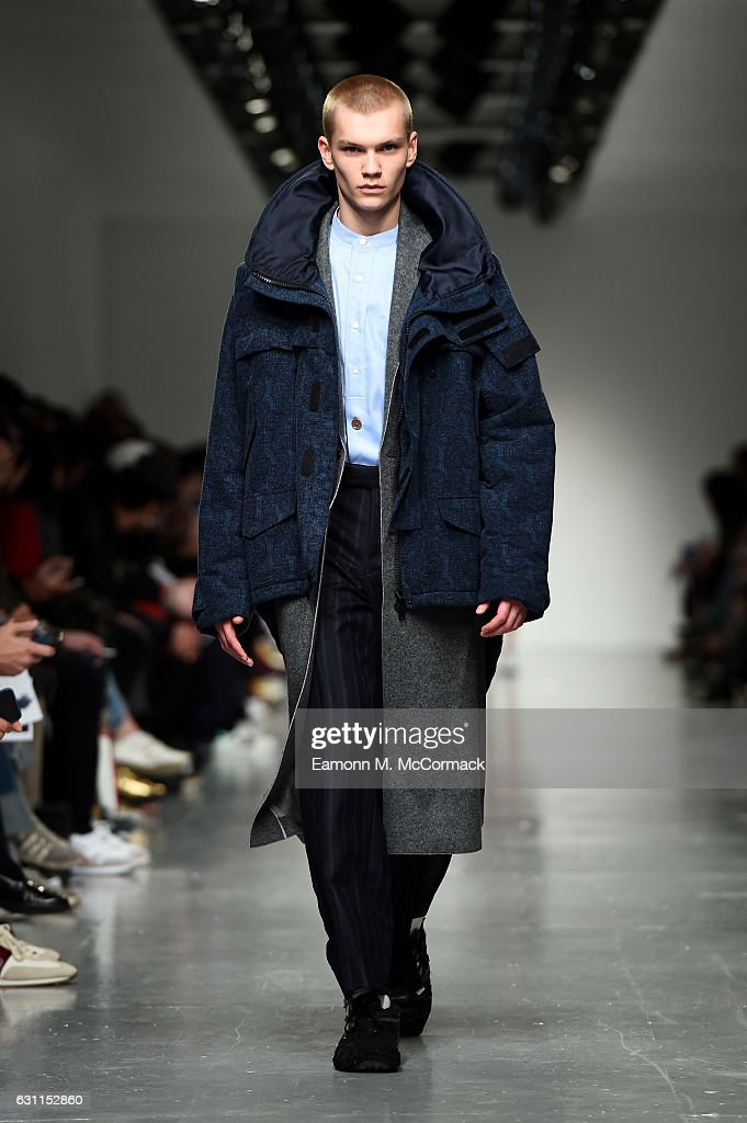 A model walks the runway at the Casely-Hayford show during London Fashion Week Men's January 2017 collections at BFC Show Space on January 7, 2017 in London, England.